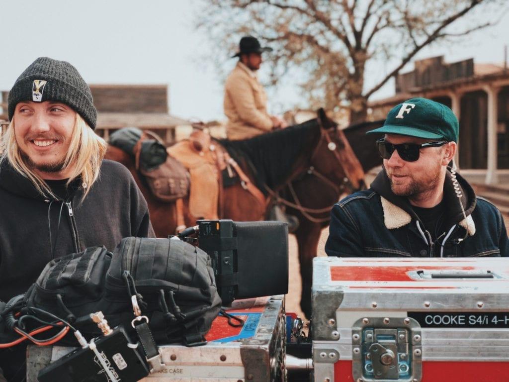 film crew on set outside on location