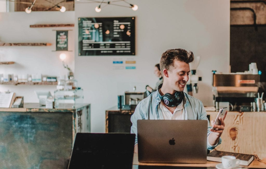 entrepreneur film producer in coffee shop