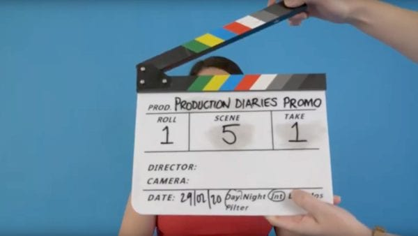 clapperboard for short film production diaries