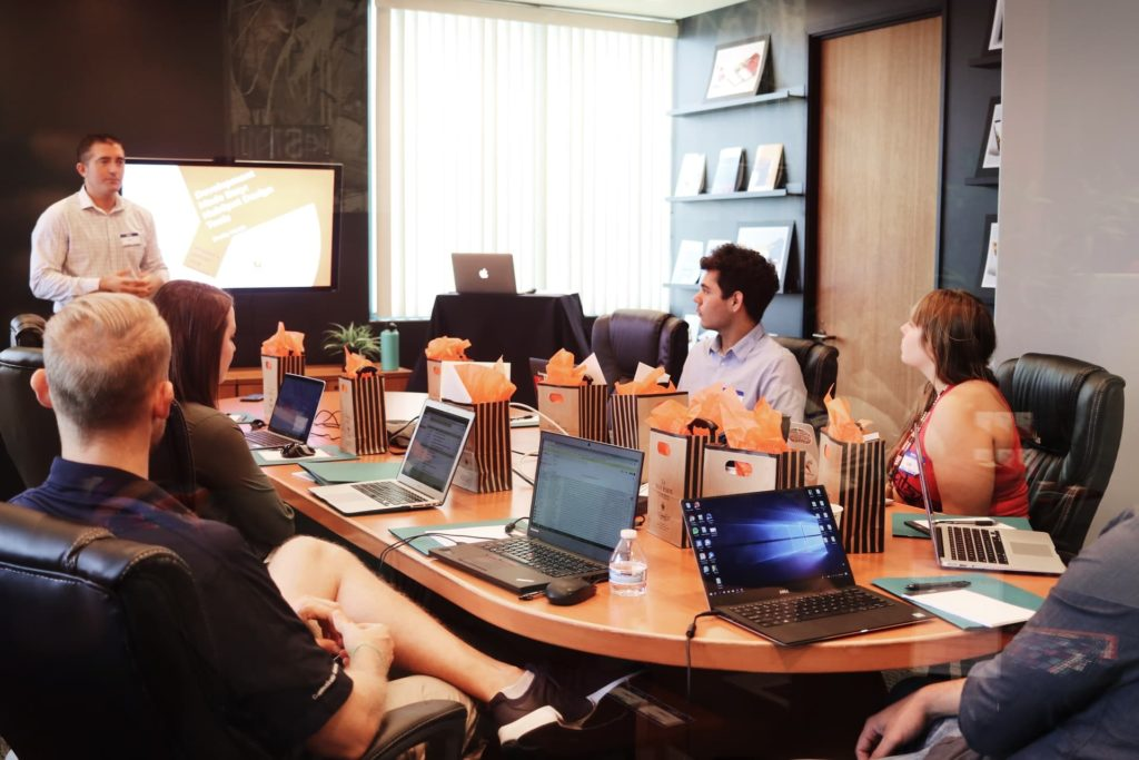 digital marketing meetings at conference table room
