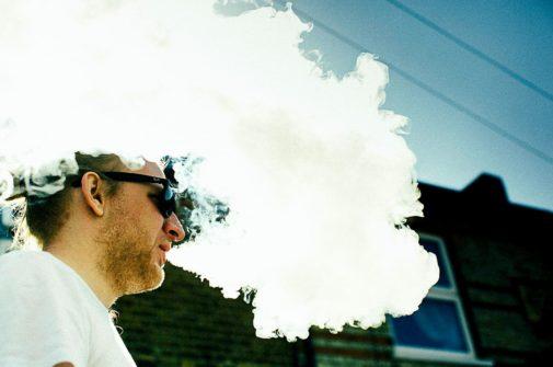 film crew member on smoke break