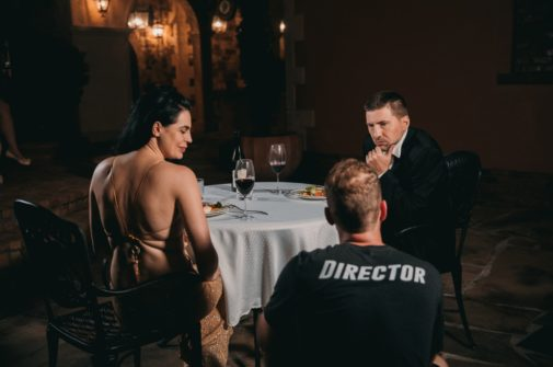 Director with Actors at Dinner