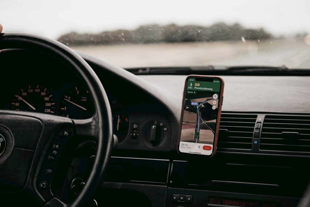 Traveling in a car with a GPS