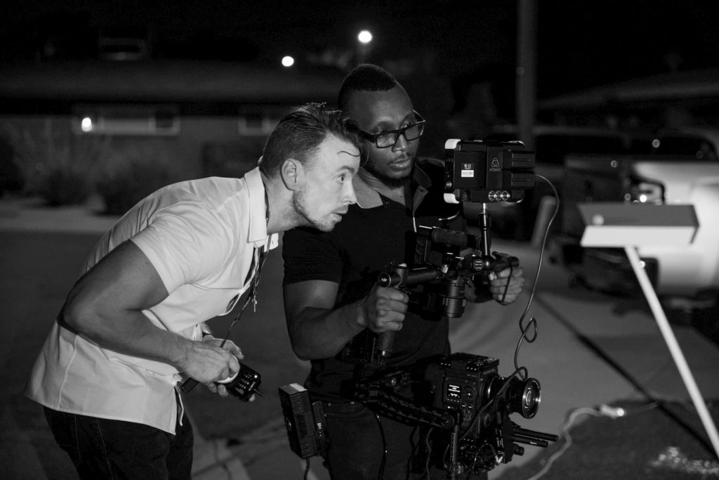 working on a film set at night