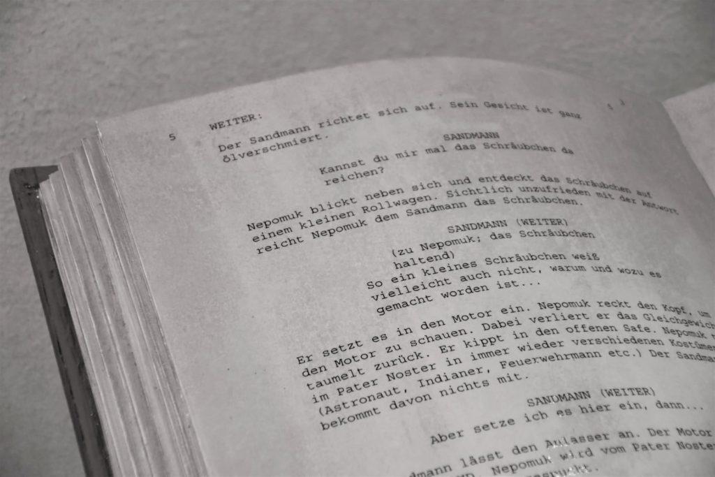 A screenplay excerpt in a book