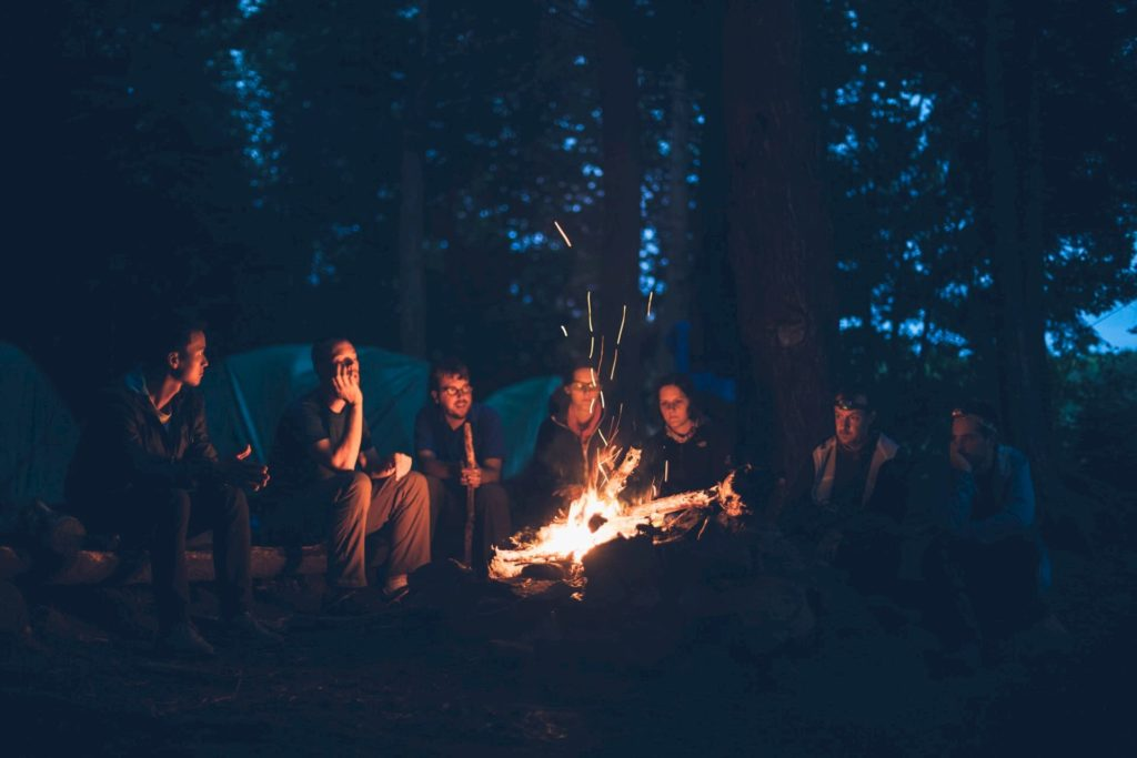 Telling a story around the camp fire