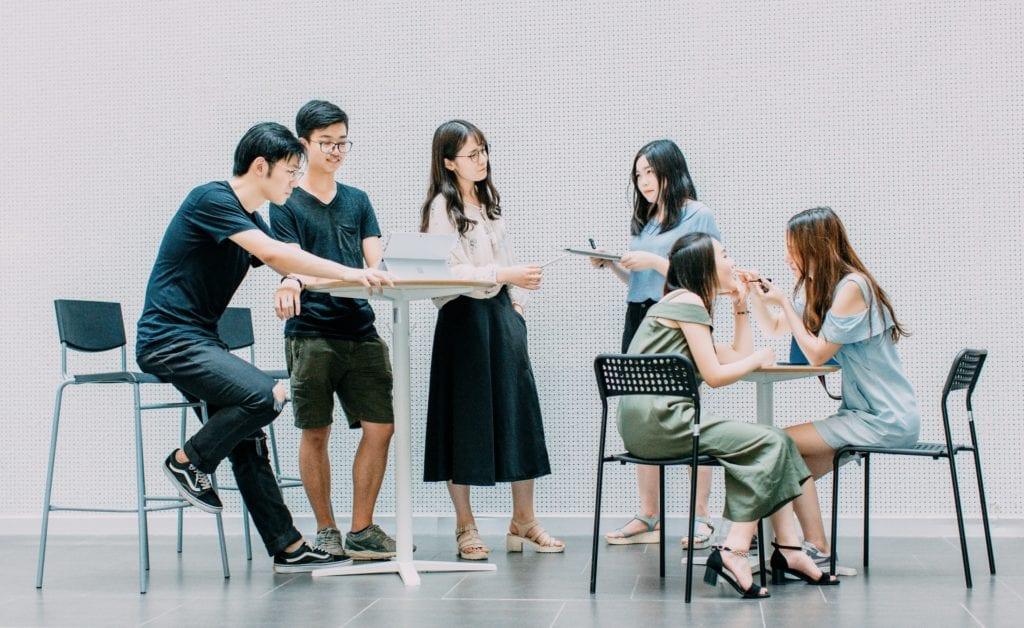 Individuals talking over their work film fund