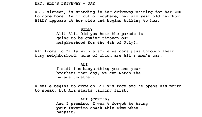 Example of structuring dialogue in a screenplay film fund