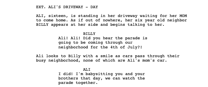Example of the beginning of a scene in a movie film fund.