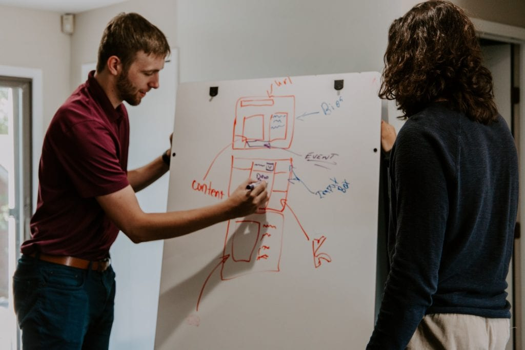 Two individuals working over a white board together film fund